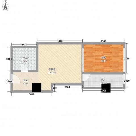 苏州街33号公寓1室1厅1卫1厨61.00㎡户型图