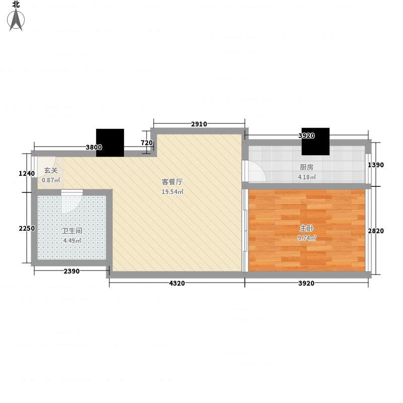 苏州街33号公寓60.21㎡2-11层7房间户型1室1厅1卫1厨