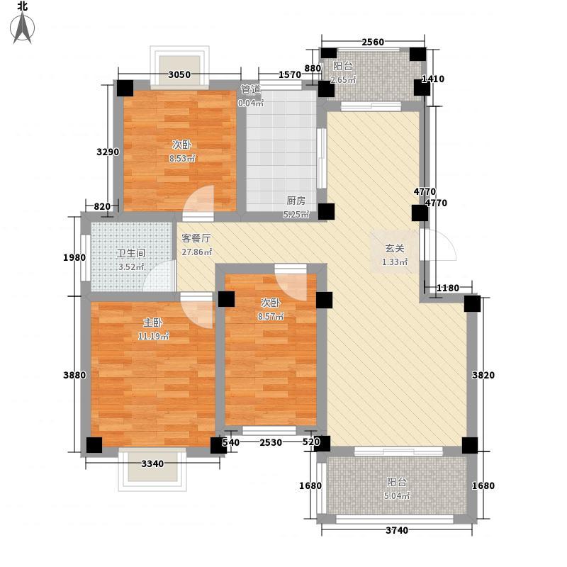 天景名城17.50㎡一期B户型3室2厅1卫1厨