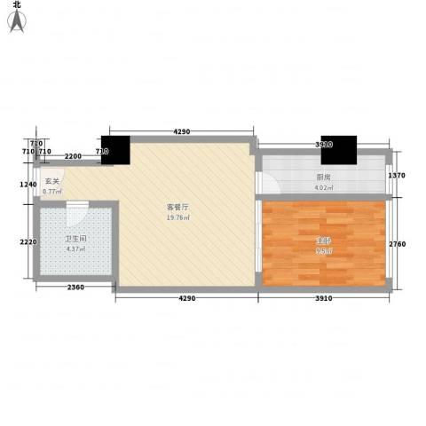 苏州街33号公寓1室1厅1卫1厨60.00㎡户型图