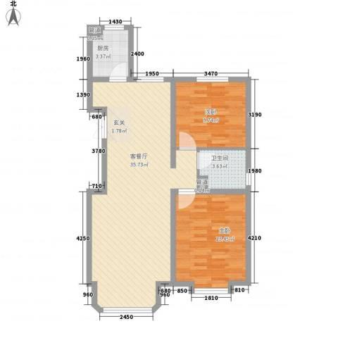 中冶世家2室1厅1卫1厨66.10㎡户型图
