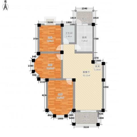 盛世莲花3室1厅1卫1厨102.00㎡户型图