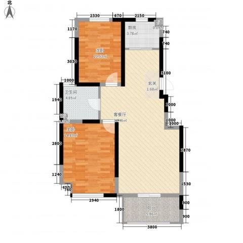 海峡・湖尚城2室1厅1卫1厨103.00㎡户型图