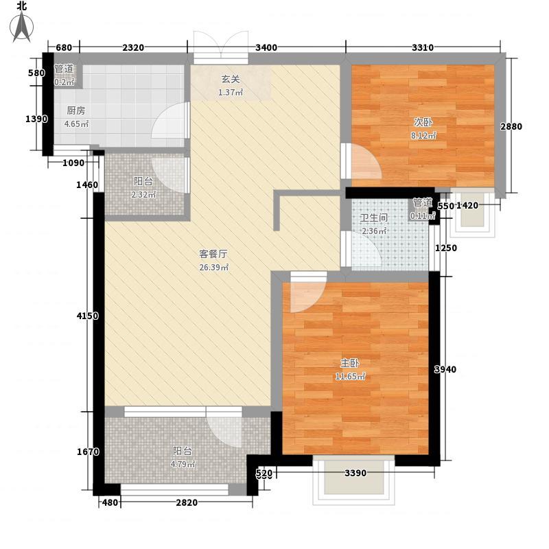 海滨御苑88.00㎡一期1-8号楼B2户型2室2厅1卫1厨