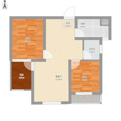 永新苑・西区3室1厅1卫1厨76.00㎡户型图