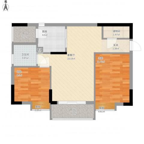 东田丽园五期2室1厅1卫1厨82.00㎡户型图