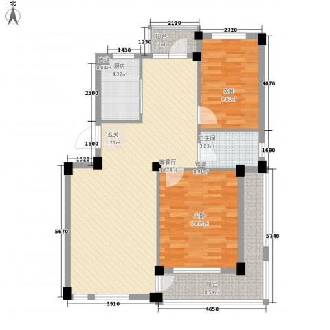 长鹭・晶品缘林2室1厅1卫1厨92.00㎡户型图