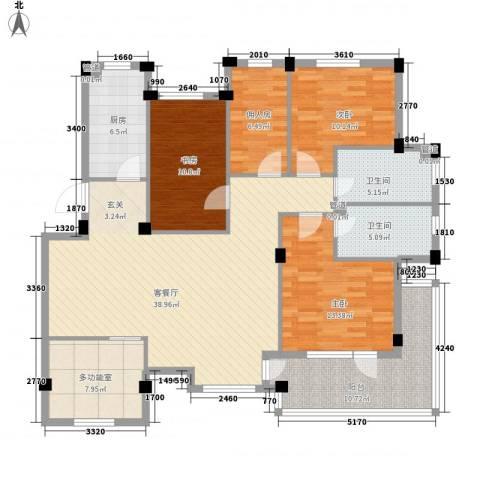 长鹭・晶品缘林3室1厅2卫1厨143.00㎡户型图