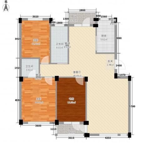 长鹭・晶品缘林3室1厅2卫1厨126.00㎡户型图