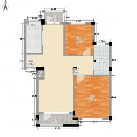 长鹭・晶品缘林2室1厅1卫1厨91.00㎡户型图
