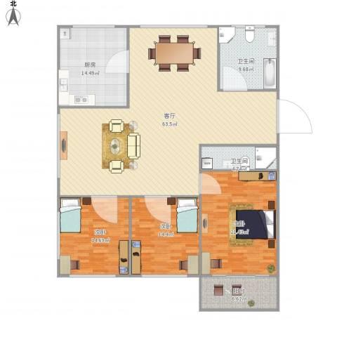 下沙文汇苑3室1厅2卫1厨198.00㎡户型图
