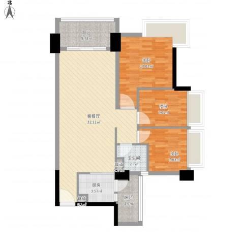 阳光海岸晶岸3室1厅1卫1厨106.00㎡户型图