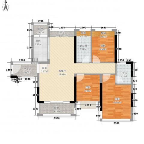 盈丰花园3室1厅2卫1厨94.00㎡户型图