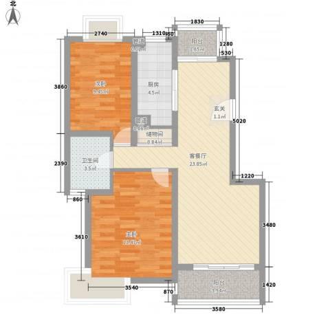 蠡湖家园2室1厅1卫1厨90.00㎡户型图