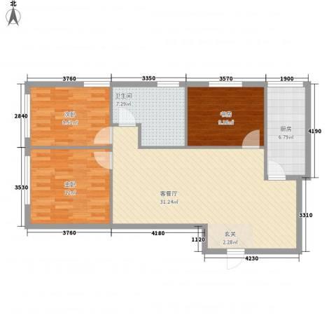 达人社馆3室1厅1卫1厨76.00㎡户型图