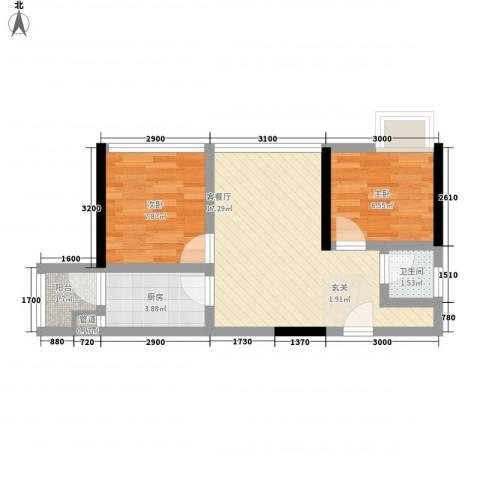鸿翠阁2室1厅1卫1厨38.99㎡户型图