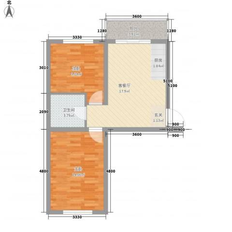 龙逸花园2室1厅1卫0厨66.00㎡户型图