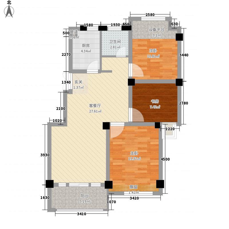 锦绣江南11.00㎡C4户型3室2厅1卫1厨