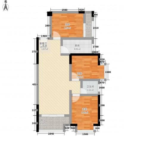 鸿翠阁3室1厅1卫1厨75.00㎡户型图