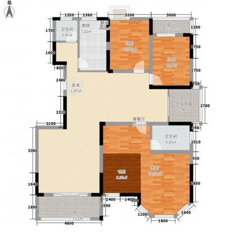 长风商务楼3室1厅2卫1厨190.00㎡户型图
