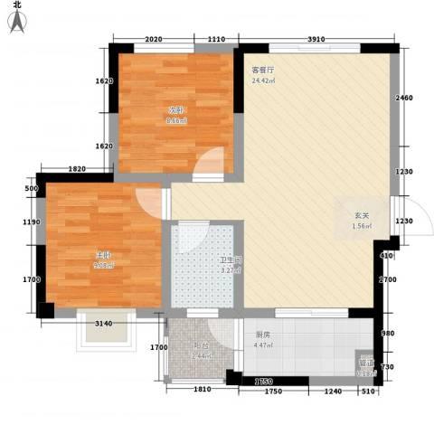 旺角公馆2室1厅1卫1厨76.00㎡户型图