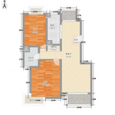 新安苑2室1厅1卫1厨60.00㎡户型图