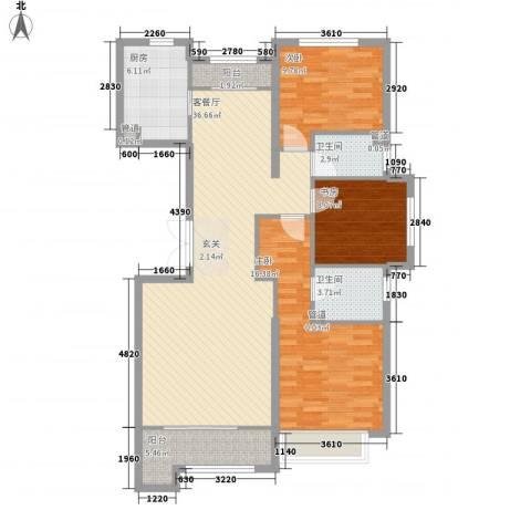 旺角公馆3室1厅2卫1厨129.00㎡户型图