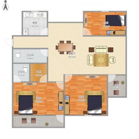 湖畔花园3室1厅2卫1厨158.00㎡户型图