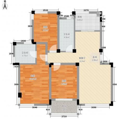 新安苑3室1厅2卫1厨75.20㎡户型图