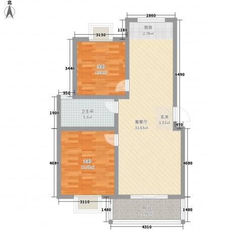 淮左郡庄园2室1厅1卫0厨92.00㎡户型图