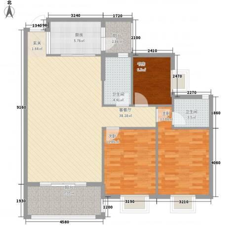 惠州蓝湾半岛3室1厅2卫1厨118.00㎡户型图