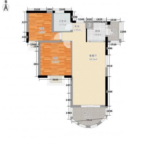 珠江东岸2室1厅1卫1厨97.00㎡户型图