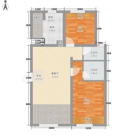 帕克峰景2室1厅2卫1厨85.00㎡户型图