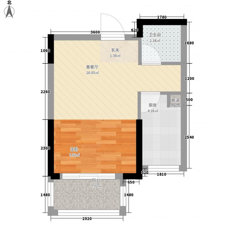 中大十里新城0室1厅1卫1厨46.00㎡户型图