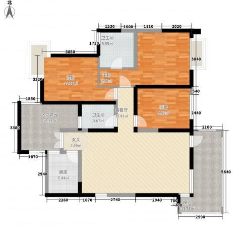 凝华苑3室1厅2卫1厨132.00㎡户型图