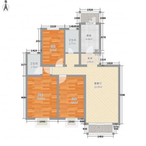 临桥苑3室1厅2卫1厨91.00㎡户型图