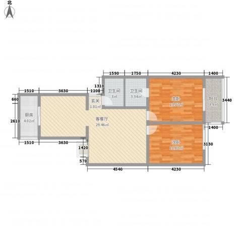 富丽园小区2室1厅2卫1厨97.00㎡户型图
