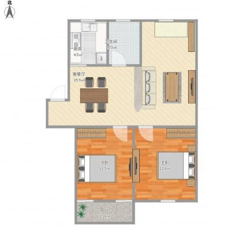 福园小区2室1厅1卫1厨90.00㎡户型图