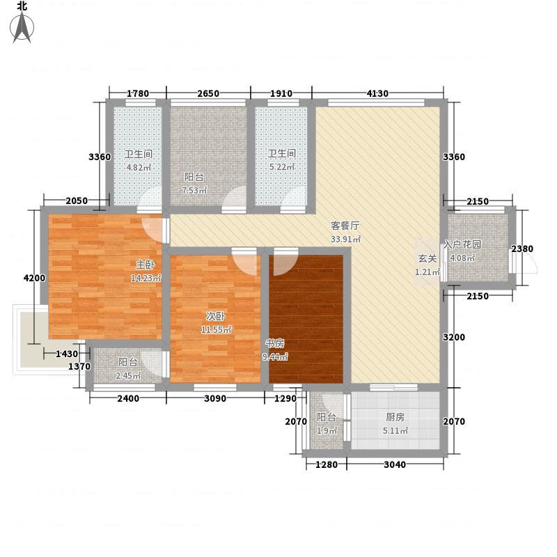 银鹭苑3-2-2-1-5户型3室2厅2卫1厨