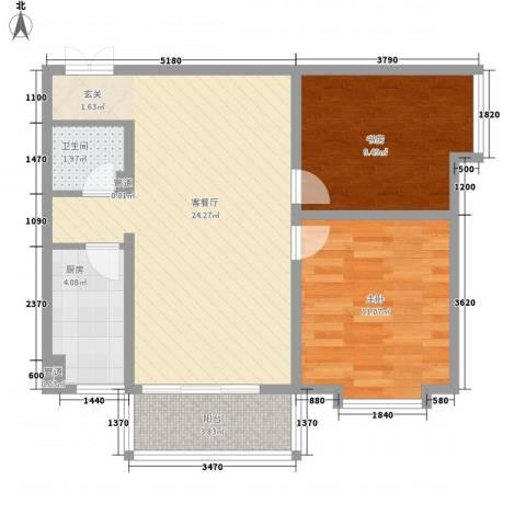 象牙宫寓2室1厅1卫1厨78.00㎡户型图