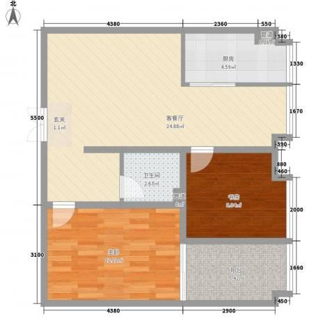 象牙宫寓2室1厅1卫1厨82.00㎡户型图