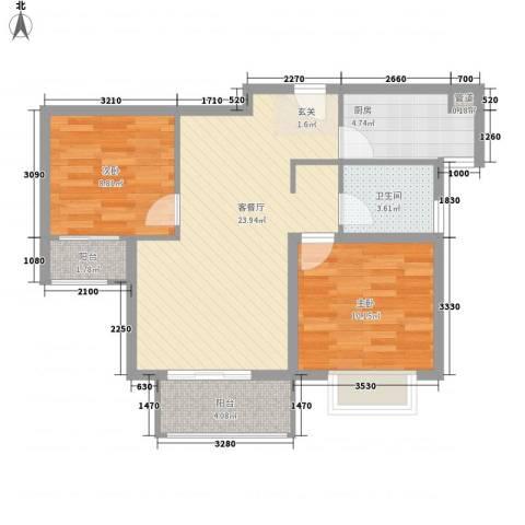 绿地高铁东城2室1厅1卫1厨82.00㎡户型图