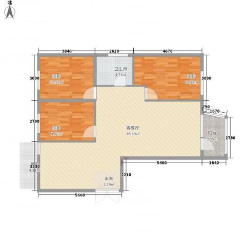 枫岚雅筑3室1厅1卫0厨95.18㎡户型图