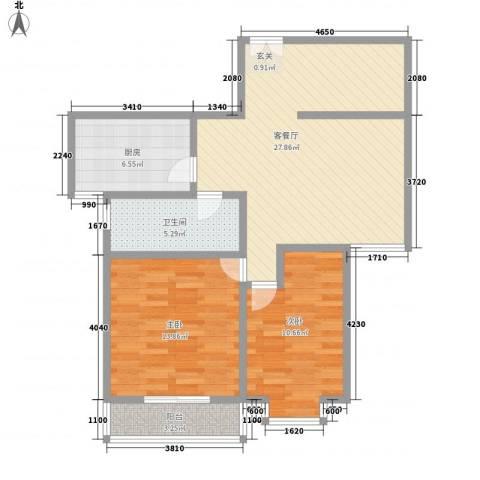 五龙花园2室1厅1卫1厨95.00㎡户型图