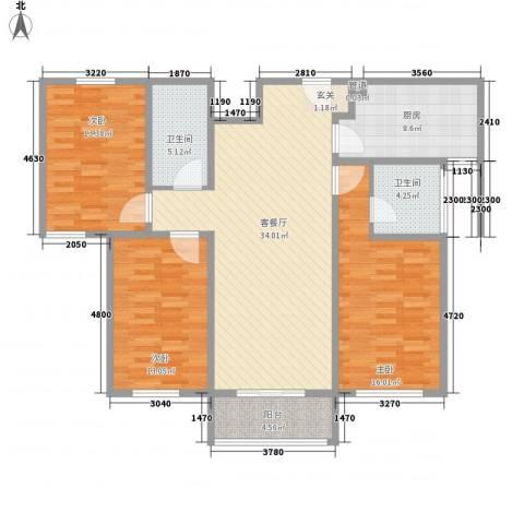 五龙花园3室1厅2卫1厨139.00㎡户型图