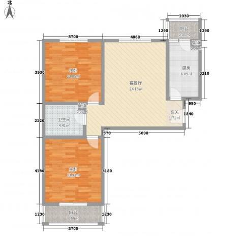 五龙花园2室1厅1卫1厨96.00㎡户型图