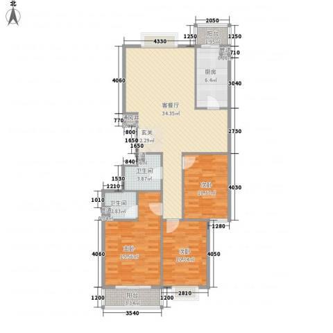 五龙花园3室1厅2卫1厨125.00㎡户型图