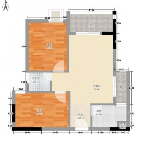 天喜东方2室1厅1卫1厨66.00㎡户型图