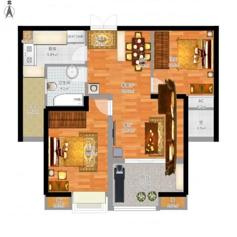 星雨华府2室1厅1卫1厨105.00㎡户型图