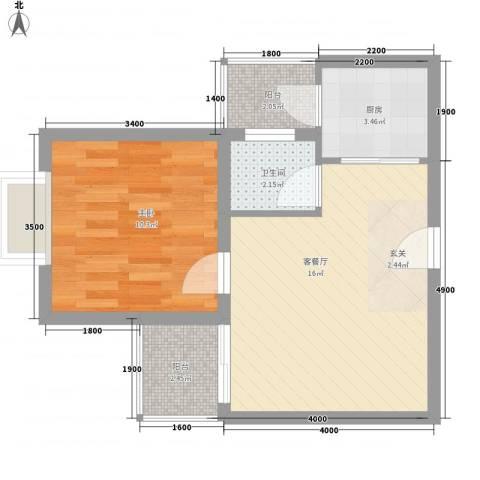 中铭君豪公寓1室1厅1卫1厨46.00㎡户型图